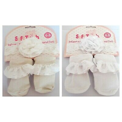 £1.99 • Buy Baby Socks And Headband Set 0-6 Months Soft Touch Cream, White