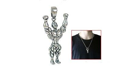 $12.97 • Buy FITNESS STEEL LARGE PENDANT GYM MEN SILVER 20  Necklace MUSCLE WORKOUT WEIGHTS