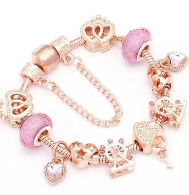 AU27 • Buy Rose Silver Pl Heart Charms With Bracelet By Pandora's Star 16-21 Cm