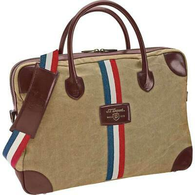 $455 • Buy S.T. Dupont Iconic Beige Canvas & Brown Leather Document Bag, 191302, New In Box