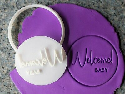 AU8.95 • Buy Welcome Baby, Baby Shower, Cookie Cutter, Fondant Embosser, 3D Printed