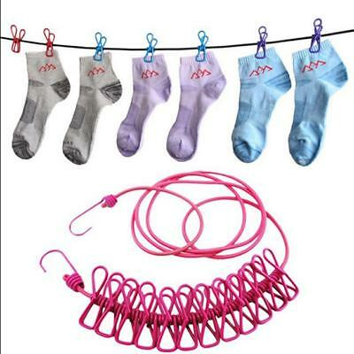 £3.84 • Buy 12 Pegs Clothes Line Rope Camping Clothesline Rack Hanger Cloth Airer Peg YU