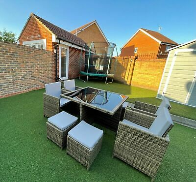£475 • Buy RATTAN GARDEN FURNITURE CUBE SET 4x CHAIRS TABLE & 4 STOOLS OUTDOOR PATIO