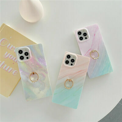 AU14.36 • Buy Rainbow Square Phone Case For IPhone XR 12 11 Pro Max 7 8 Plus With Ring Holder