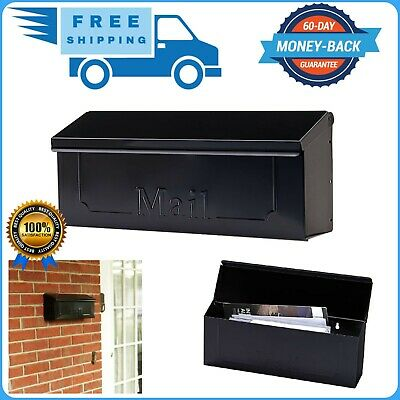 $19.99 • Buy Wall Mount Black Mail Box Heavy Duty Galvanized Steel Extra Large Mailbox Home