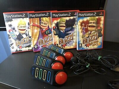 £22.75 • Buy PS2 Buzzer Bundle X4 Buzzers 4 Games All Complete Manuals Full Working Order