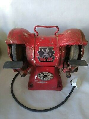 £124.99 • Buy Vintage 6 Inch Wolf Cast Iron? Bench Grinder Engineers Classic Tool Fabrication