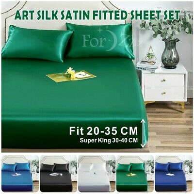 AU29.99 • Buy 1800TC Silk Satin 3PCS Bottom/Fitted Sheet Single/KS/Double/Queen/SuperKing Size