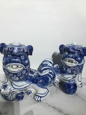 """£116.99 • Buy Vintage Chinese Large Pair Blue & White Porcelain Foo Dog Statues 8.5"""" Tall"""