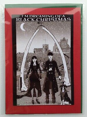 £2.99 • Buy NEW! Goths At Whitby Christmas Card • Handmade Unique Design • Couple With Dog