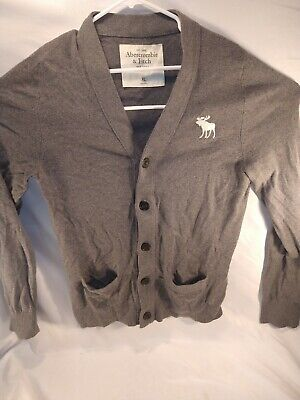 $22.99 • Buy Abercrombie & Fitch Men Button Down Classic Logo Cardigan Sweater XL Gray