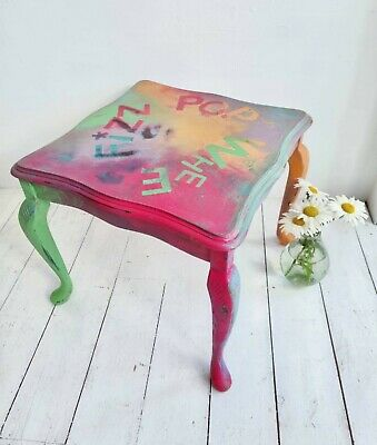 £90 • Buy PAINTED COFFEE TABLE Rainbow FUNKY Shabby Chic Side Annie Sloan Pink Green Blue