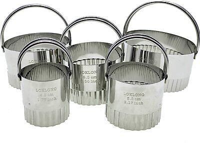 £9.99 • Buy Cookie Cutter 5 Piece Large Stainless Fluted Edge Round Mousse Layered Pastry