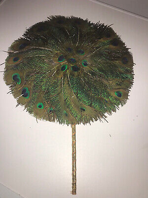 £44.99 • Buy Antique Peacock Feather (Real) Hand Fan - Round Double Sided - Vintage