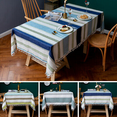 AU22.68 • Buy Tassel Cotton Linen Tablecloth Kitchen Dining Tableware Cover Party Table Decor