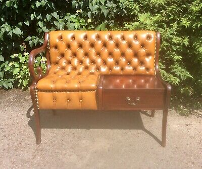 £195 • Buy Vintage Chestefield Style Leather Hall Seat Telephone Seat Table