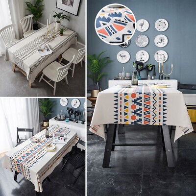 AU21.86 • Buy Tablecloth Geometric Cotton Linen Rectangle Dining Table Cover Party Cloth Cover