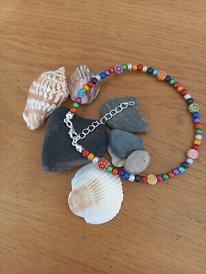 £2.99 • Buy Bright Multicoloured Beaded Anklet / Ankle Bracelet Chain With Daisy Flowers