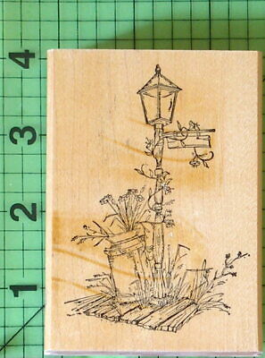 $6.95 • Buy Garden Lamp And Milk Can Rubber Stamp By Art Impressions