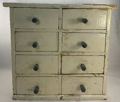 AU134.91 • Buy Antique 8 DRAWER Wooden CABINET Decor 6 1/4  X 13  X 12  Spice White As Is Read
