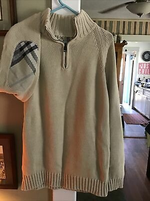 $90 • Buy Burberry London Sweater Mens Elbow Patches 100%cotton Size L