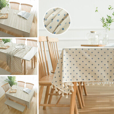 AU15.68 • Buy Dust-Proof Tablecloth Cotton Linen Rectangle Dining Wedding Table Cloth Cover AU