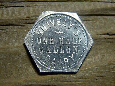 $5.99 • Buy NORTH MANCHESTER, INDIANA Milk Token SHIVELY'S DAIRY 1 Half Gallon WABASH CO. IN