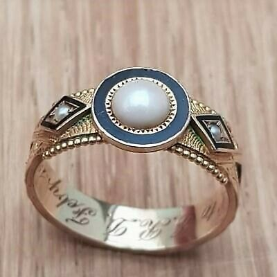 £300 • Buy 15ct Gold With Enamel & Pearls Victorian Mourning Ring 1902 Size Q