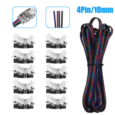 $9.99 • Buy 4-PIN RGB Extension Wire Cable Cord Connector For 5050/5630 RGB LED Strip Light