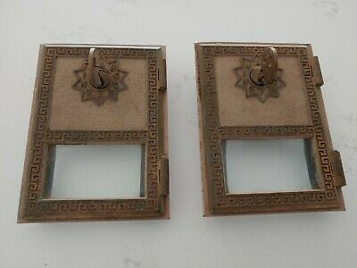 $19.99 • Buy Vintage Antique Brass US Post Office Mail Box Doors, With Keys, No Damage