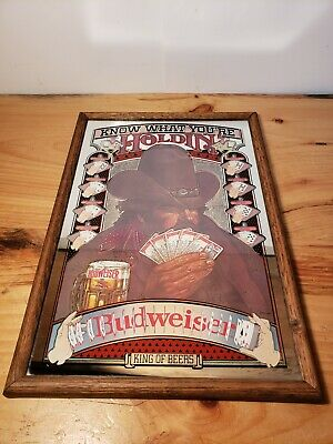 """$ CDN94.41 • Buy Budweiser """"KNOW WHAT YOU'RE HOLDIN' """"-Mirror- Poker King Beer Man Cave 19 X13"""