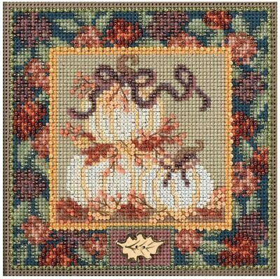 $12.99 • Buy Mill Hill Autumn Buttons & Beads Counted Cross Stitch Kit ~White Pumpkins~
