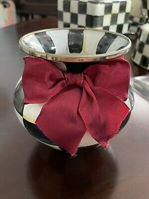 $64 • Buy Mackenzie-Childs Courtly Check Enamel Vase Red Bow NEW MSRP $82