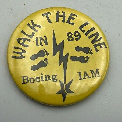 $17.36 • Buy 1989 Boeing Machinists Union Walk The Line 2-1/4  Button Pin Pinback Vintage Y4