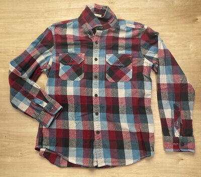 $19.89 • Buy Mens Vintage Flannel American Eagle Athletic Fit Button-Up Size L Red Blue Plaid