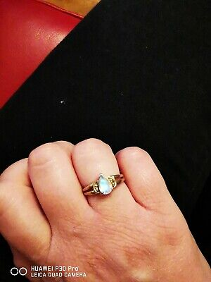 £115 • Buy 9ct Gold Rainbow Moonstone And Champagne Diamond Ring Gems Tv Size N