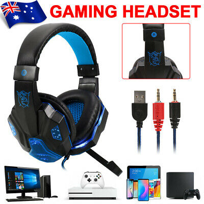 AU20.65 • Buy LED Gaming Headset Headphones Earphones With Microphone For PS4 Xbox PC Laptop