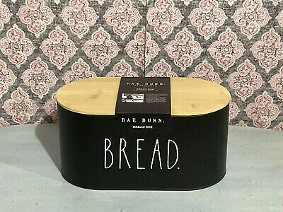 $46.95 • Buy New Rae Dunn  BREAD  Box With Wooden Lid Farmhouse Basic Kitchen