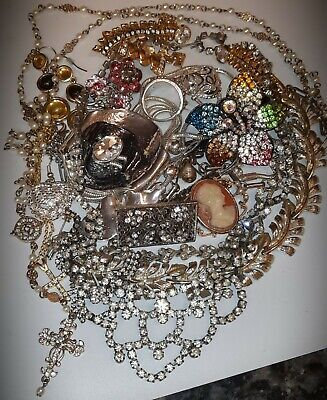$ CDN43 • Buy 🌬🌔gorgeous Vintage Rhinestone Jewelry Lot~cameo~necklaces Rings~f/pearls Cross
