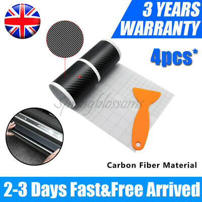 £4.29 • Buy 4pcs Car Carbon Fiber Door Sill Scuff Welcome Pedal Protect Sticker Accessories