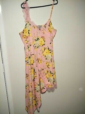 AU5 • Buy ASOS Pink Yellow Lace Floral Dress Or Nightie Size 18 NEW
