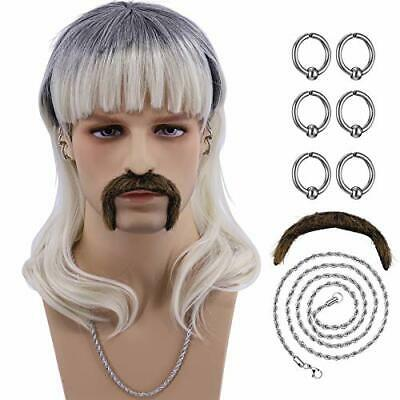 $0.99 • Buy Hulaidywig Cosplay Wig Costume Set For Men  6 Earrings   Mustache   Necklace   W
