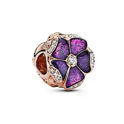$14.99 • Buy Authentic Charm 925 Sterling Silver Purple Magnolia Flower Charm