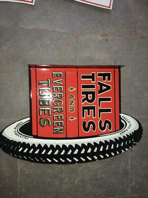 $ CDN120.85 • Buy Porcelain Falls Tires Enamel Sign SIZE 30  X 19  INCHES 2 Sided Flange Pre-Owned