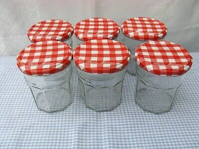 £5.60 • Buy 6 X Bonne Maman Empty Jam Jars: 6 X 370 G  Red Gingham Lids. Cleaned By Hand.