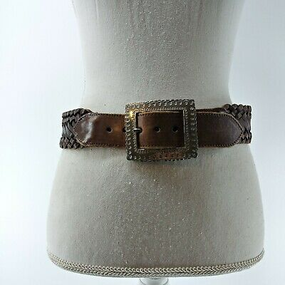 £10.90 • Buy Brighton Women's Brown Wide Thick Belt Size Medium Silver Tone Square Buckle M