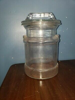 $5.99 • Buy Vintage 9  Clear Thick Glass Milk Can Cookie Jar/ Canister, Farmhouse Chic EUC