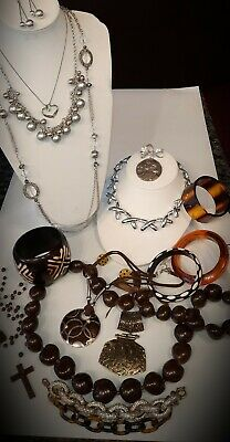 $ CDN39 • Buy Vintage Lovely Jewelry Lot Of Browns,Silver Tones,Cameo, Latasia,J.CREW 925 More