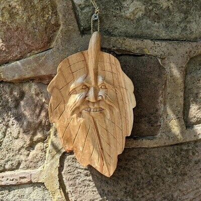 £23.49 • Buy Green Man Leaf Carving Wall Hanging Green Man Of The Woods 28cm