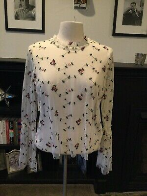 $ CDN12.58 • Buy Anthropologie RO & DE Size Large Mauve & Pink Embroidered Sheer Blouse